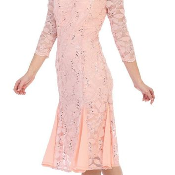Peach Mid-Sleeved Lace Wedding Guest Dress Tea-Length