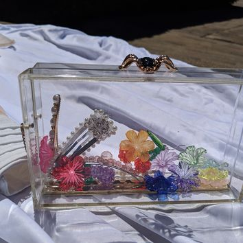Transparent Spider Embellished Acrylic Box Clutch
