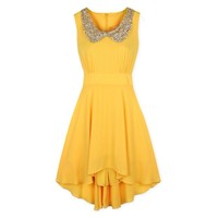 Sleeveless Peter Pan Collar With Sequins Irregular Hem Tiny Dress