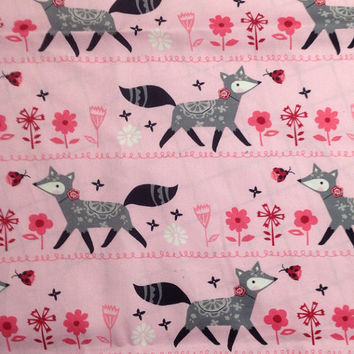 Pink and Grey Fox Baby Blanket (30 x 30 inches) Pink fox cotton and Grey Minky with loop to link Stroller or Car Seat - Personalize Option