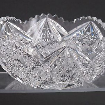 "American Brilliant Period hand Cut Glass Antique 7"" bowl ABP Wedding gift"