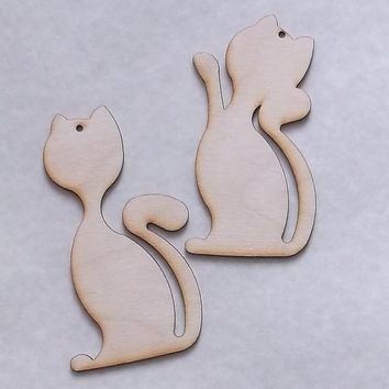 Wooden Cat Pendant, Gift Tag, Gift Idea, Key Ring, Home decoration, Birch Wood, Lasercut