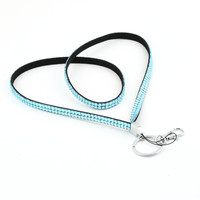 1pcs Sky Blue Rhinestone Lanyard Crystal Bling Custom Lanyard & ID Badge Cellphone w/ Key Holder Ring Newest