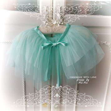Soft Airy Mint Green Tulle Satin Bow Sheer Cape Capelet Poncho Top,Women's Lolita Clothing, Darling Beach Coverup Bolero Shwal Shrug Boho