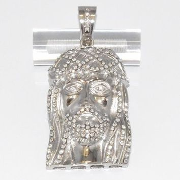 4-2374-f6 Stainless Seel Large Jesus Piece. 3.5 inches length, 40mm wide.