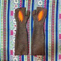 Grateful Dead Arm Warmers - Warm Fleece Elbow Length with Thumb holes - 13 point bolt - Grey Orange Pink