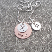 Lacrosse (or other Sports)  Mom Personalized Hand Stamped Necklace with Lacrosse Stick Charm and Jersey Number - Gifts for Mom