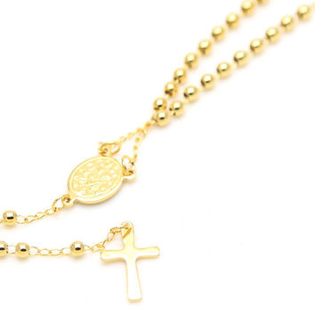 ZIDOM 24k gold platede women's short handmade Jesus Mary Chain vintage rosary chain with length 51.5cm pendant necklace jewelry