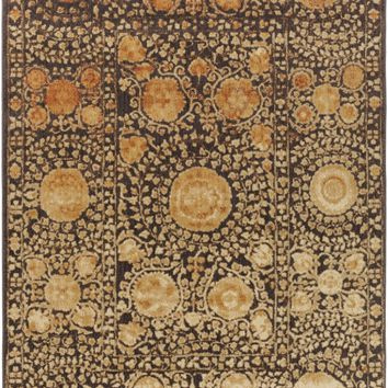 Surya Arabesque ABS3059 Black/Brown Medallion and Damask Area Rug