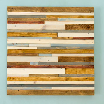 "SALE Wood Wall Sculpture Art Rustic Industrial reclaimed 20"" x 20""  wood pieces grey, walnut, yew, oak, blue, white"