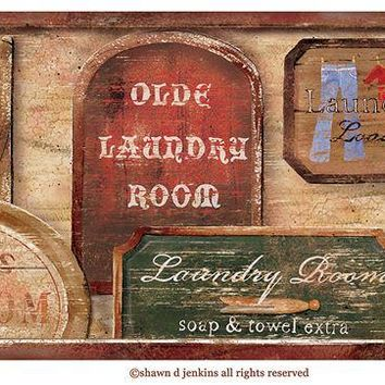 Brewster Wallpaper 418B80974 Wash Room Brown Vintage Laundry Signs