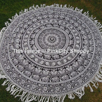 Elephant Round Mandala Tassle Fringe Beach Throw  Mandala Printed Cotton Table Cover Kitchen Table Cloth Roundie Yoga Mat Cover Wall Hanging