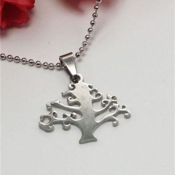 Stainless Steel Lucky Tree Necklace