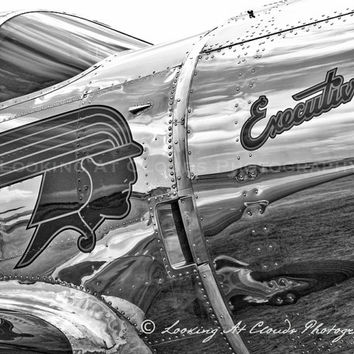 airplane art, aviation photography, vintage airplane, Spartan Executive, pilot gift, airplane decor, retro airplane art, boys room, aluminum