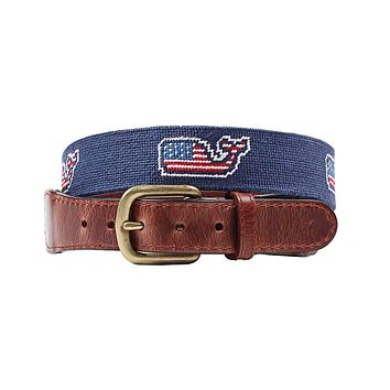 Vineyard Vines American Whale Needlepoint Belt in Navy by Smathers & Branson