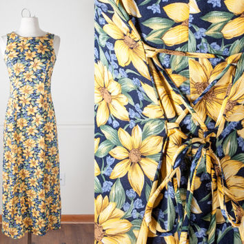 Vintage 90s Maxi Dress | Floral Print 1990s Dress Romantic Soft Grunge Dress 90s Boho Chic Festival Dress Summer Sunflower Print Dress Daisy