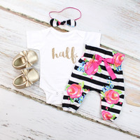Baby Girl Half Birthday Outfit | Black and White Stripe and Fuchsia Floral High Waisted Pants with Gold 'half' and Gold Heart