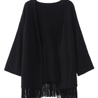 Black Tassel Knitted Cardigan