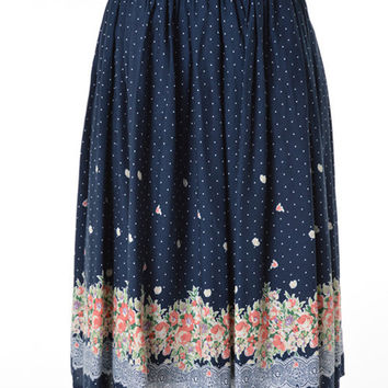 Floral Skirt in Navy
