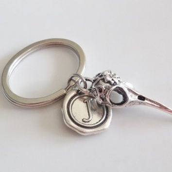 Initial keychain, Silver keychain, Bird beak keychain, flower patern carved, father brother sister bff friendship Gift