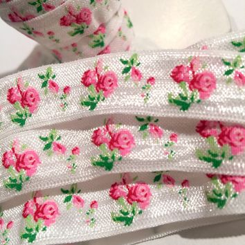 "White floral printed 5/8"" fold over elastic FOE"