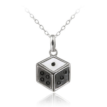 Sterling Silver Black Diamond Accent Dice Necklace