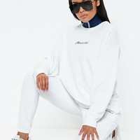 Missguided - White Missguided Slogan Sweatshirt