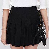 Pleated Waist Mini Skirt Dress