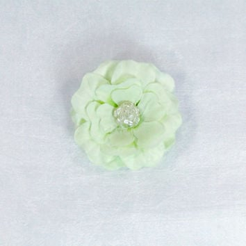 """Mint Green Flower Brooch Pin 2"""" Silk With Pearl Rose Center Shabby Chic Boutonniere Lapel Pin Brides Maid Bridal Flower Girl"""