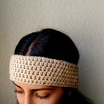 Crochet Boho Ear Warmer Headband, Music Festival Crocheted Ear Warmer, Simple Ear Warmer Head Wrap, Tan Crochet Headband, Beige Head Wrap