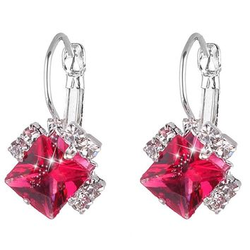 Red Blue Purple Stud Earrings Large Square Shape Wedding Silver fa5a95264