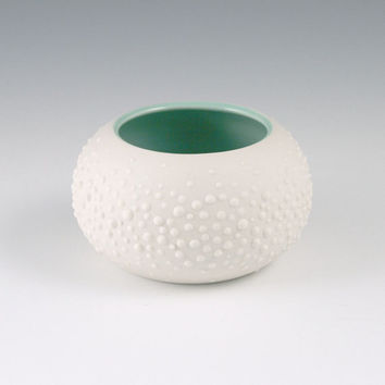 Sweet Pea in Mint Green - Small Round Porcelain Vase