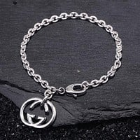 GUCCI 925 Silvery Trending Women Stylish Double G Pendant Bracelet Accessories Jewelry