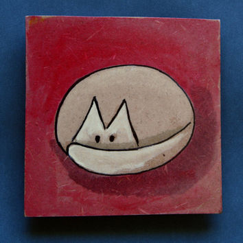 Magnet, fridge magnet, cat, handpainted, watercolors, red background, gift idea, cat lovers gift idea