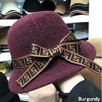 FENDI Newest Fashionable Ladies Bowknot Cashmere Knit Hat Cap Burgundy