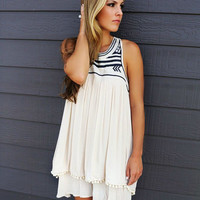 Piper Light Stone Embroidered Neck Layered Racerback Dress