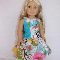 blue and white retro floral dress with full skirt, 18 inch doll clothes, american girl, maplelea