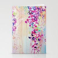 DANCE OF THE SAKURA - Lovely Floral Abstract Japanese Cherry Blossoms Painting, Feminine Peach Blue  Stationery Cards by EbiEmporium