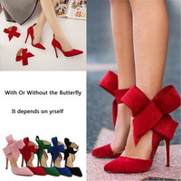 Newest Fashion Red Big Butterfly Tie Ankle Strap Sexy evening party women fashion high heels 11CM Flock peep toe shoes high heels in Size 35-41
