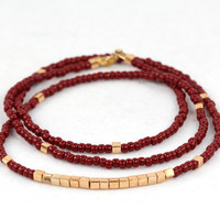 Long Beaded Necklace in Oxblood and Gold