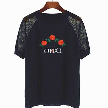 One-nice™ GUCCI Champion flower rose print top Black