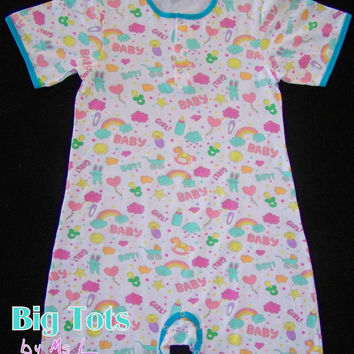 Adult Baby SMILES & Baby Things snap crotch romper ABDL