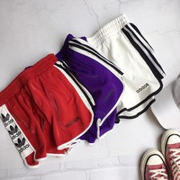 """Adidas"" Women Casual Home Multicolor Stripe Clover Letter Shorts Sweatpants Leisure Pants"