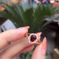 Natural red garnet stone Natural gemstone ring S925 sterling silver trendy Elegant water drop women party gift Jewelry