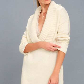Infinite Skies Cream Sweater Dress