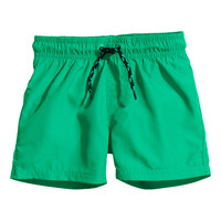 H&M - Solid-color Swim Shorts - Green - Kids