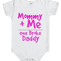 one broke daddy-Unisex White Baby Onesuit 00