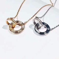 ONETOW Cartier  Double ring small cake necklace, male and female   Necklace