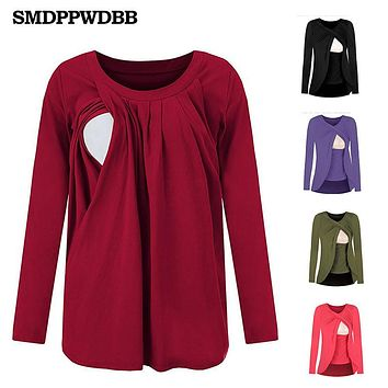 2018 Cotton Nursing Clothes T-shirt long sleeve Breastfeeding Nursing Clothes Breathable Maternity Nursing Tops Pregnant clothes