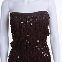 TRINA TURK BROWN BANDEAU TUBE TOP SWEATER WITH EPAULETTES